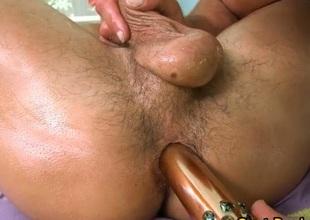 Latino hunk gets anal toyed