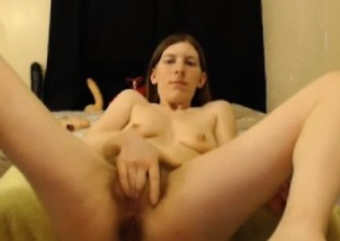 Ugly bitch has a hairy pussy coupled with tall dildo hardcore