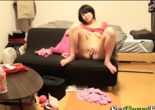 Japanese slut toying cunt