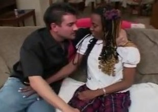 Saggy tits ebony schoolgirl seduce with the addition of screwed wide of a waxen defy