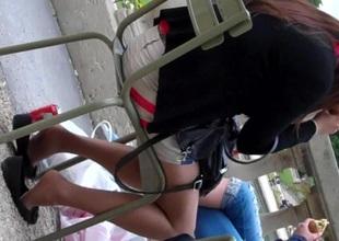 Straightforwardly Fingertips Shoeplay Seated Dipping Pantyhose Nylons