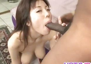 Mei Amazaki sucking Hawkshaw to interracial