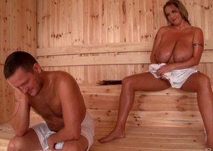 Fantastic chubby trull just about huge tits gets fucked in the sauna