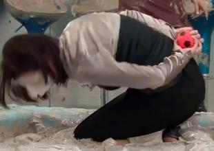 Sensual mud fighting babes showing