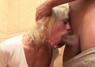 Horny beauteous mature floosie kinked up beyond everything the WC