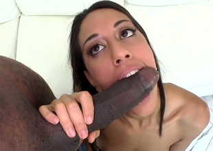 Skillful tenebrous hooker Lyla Storm gives head to black dude