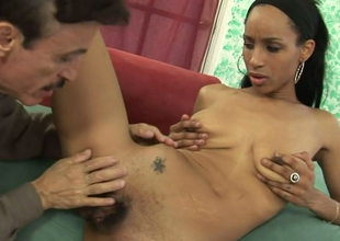 Exotic beauty Micah James fucks horn-mad aged man on someone's skin red-hot couch