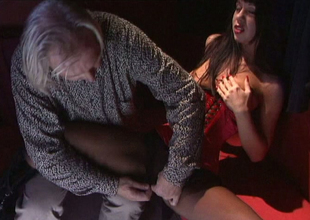 Hot brunette doll Cindy exposes her twat just about crotchless pantyhose