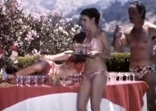 A bunch of classic retro summer girls by the pool enjoying orgy