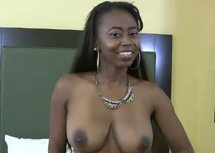 Chubby boobed black porn floozy fucks horny white ass dude in kinky fuck video