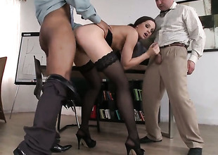 Tow-haired Ashley gets hardcored in steamy interracial scene