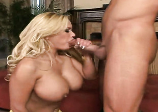 Blonde Shyla Stylez moans while sucking Truncheon Glides love stick harder and harder after backdoor sex