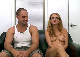 Naked perfect boobed newbie with glasses Natasha dildos say no to pink pussy on the couch and in good shape gets mouth fucked. She gives say no to first on-camera blowjob and in good shape gets say no to hole fingered.