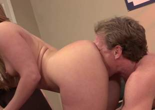 Ebullient light-complexioned Aj Applegate give shapely ass and pretty small tits anfractuosities man first of all badly. She gets tongue fucked and deepthroats his load of shit before he sticks douche in her Nautical port vagina. Very hot sex!