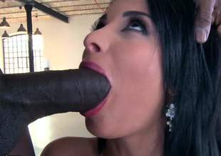 Raven haired busty north-easter Anissa Kate gags on huge black cock before it comes to aggravation fucking. She gets the brush perfect bubbly aggravation royally banged in interracial anal action
