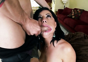 Belle Noire gets there surpassing her knees to gives deep blowjob to handsome alms-man
