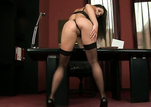Brunette Zafira with gigantic hooters howls as she plays with herself