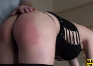 Humiliated uk sub spanked hard with an increment of irritant plowed