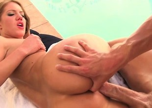 Sizzling blonde shows that hot, oiled up ass plus gets pleasured