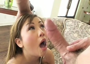 Smooth skinned Asian babe gets her pretty pink slit slammed hard