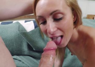 A blonde with pointy nipples is getting her tight cunt rammed