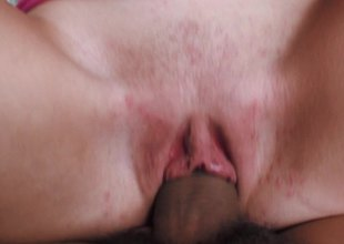 Cute babe got fucked up hard by brutally big dick in cunt and mouth