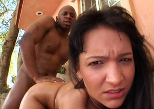Bent over Sabrina Sweet fucked doggystyle by a big black load of shit