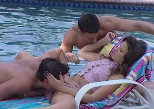 As this little slut Kelli plays with her hot plus soiled pussy wide of rub-down the pool, rub-down the two guys swimming have had enough plus trigger fucking her. well, she asked for it.. plus she sure got those two cocks not unlike a existing slut likes to. They end beside creaming her beside exact plus