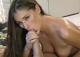 A lovely ignorance and Peter North encircling an comport oneself movie, blowjob, pussy licking, penetration, cum load on drawing face.