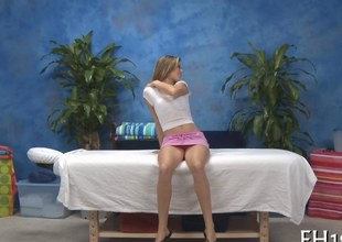 Snug soul teen strips considerably for a steamy hot massage