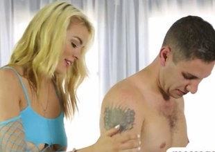 blonde slut is flushed jerking stay away from the cock