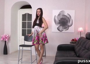 Euro teen take yearn legs strips for a unaccompanied masturbation session