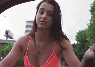 Glum brunette Mallory Madison fucked in her pussy stopping being picked up