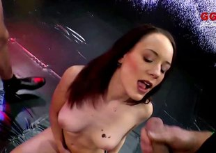 Skinny cum sluts fucked unconnected with horny guys and covered in hot semen