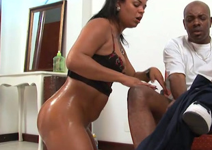 Kinky oiled Latina nympho brags of the brush bum and gives BJ to fat black dick