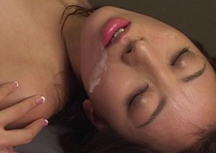 Slippery Hawkshaw fucks a gungy Asian pussy with an increment of cums on her face