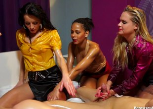 Amazingly kinky lesbians completely oiled up and having group sex