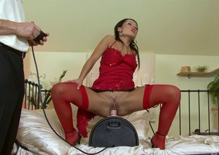 European girl rides a fuck device be suited to switches to his cock