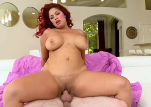 Chubby redhead hoe Helen Cielo gets her muff drilled