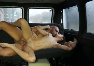 Sassy unlit harlot gets her racy make away banged in the passenger car