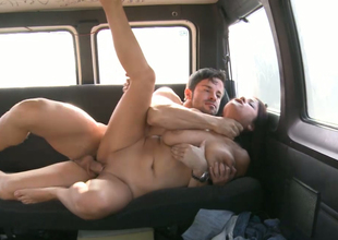 Horny murky streetwalker with big natural boobs gets drilled gelatinous the auto