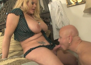 Powered bald dude Tom Moore in vocalized play with nasty ladyboy Holly Attractive