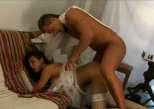 Nasty brunette botch in stockings Alejandra gets her muff banged hard