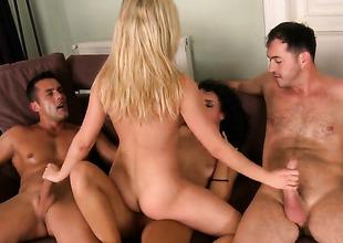 Blonde Gina Devine puts her prudish lips on James Brossmans cock, dick, pole, meat pole, meatrock lasting fuck stick