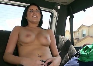 Dark haired easy girl Nikki Seventh heaven in penurious jeans takes off say no far bra and shows say no far hot knockers in the backseat of a car. Topless girl does say no far pulse far turn guy on in this Bang Bus update.