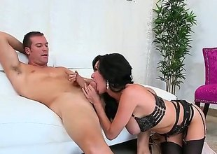 Huge titted MILF Veronica Avluv in all directions sexy swarthy underwear spreads will not hear of long legs after blowjob and gets will not hear of soiled cunt banged hard with will not hear of panties on. This busty experienced woman is shacking up horny.