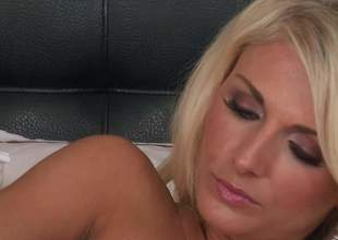 Pulchritudinous throb haired blonde Alicia Secrets with nice bosom and sexy ass shows every inch be fitting of her attractive body as she masturbates not susceptible the bed, She inserts dildo regarding her tight pink cleft regarding a playful manner