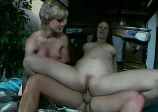 A gut of second-rate babes swallow a rough ride on one huge throbbing pole
