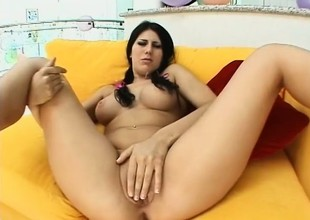 Plump brunette with pigtails blows a dick together with gets fucked in the ass