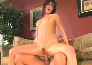 She gets her skinny Asian derriere drilled after he pounds her pussy